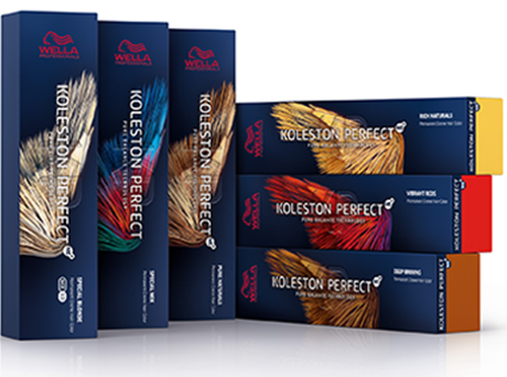 6 dark blue, rectangular boxes of Koleston Perfect in different shades, 3 standing upright and 3 lying on their sides