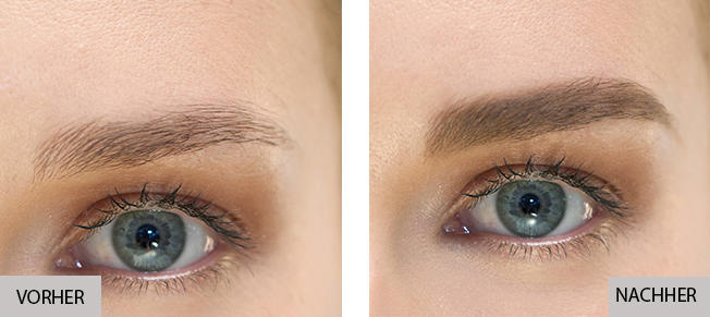 Insta Recharge Betonung der Augenbrauen vorher und nachher
