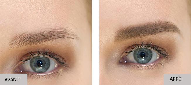 Définition des sourcils avec Insta Recharge, avant et après