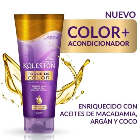 Toque de color Koleston Caramelo para castaños y rubios con tratamiento de  aceites de argán, macadamia y coco 200 ml   Wella
