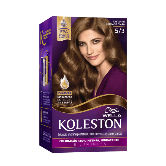 Wella Koleston Permanent Hair Color Cream With Water Protection Factor Light Golden Brown 53 Wella